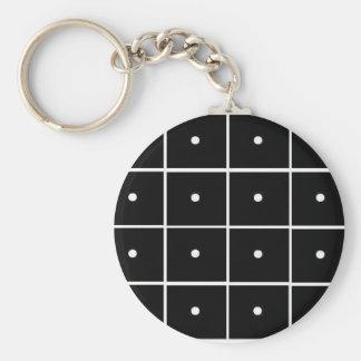 Black Squares White Circles Basic Round Button Keychain