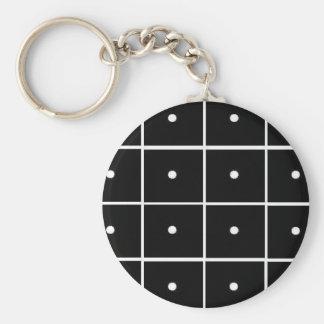 Black Squares White Circles Keychain