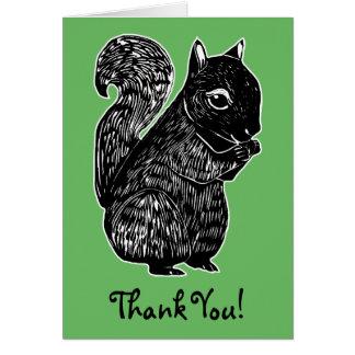 Black Squirrel Green Thank You Card