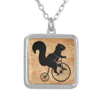 Black Squirrel or Chipmunk on Vintage Bike Square Pendant Necklace