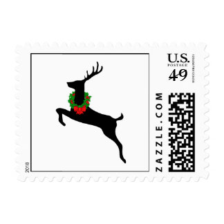 Black Stag with Christmas Wreath Postage