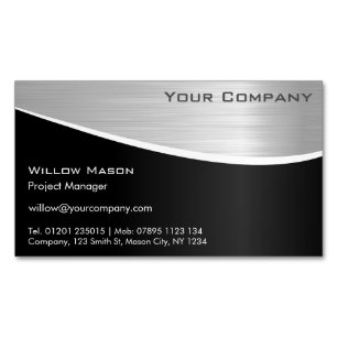 Magnetic business cards zazzle black stainless steel magnetic business card colourmoves