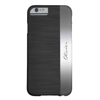 black stainless steel pattern with name barely there iPhone 6 case