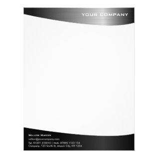 Black Stainless Steel Professional Letterhead at Zazzle