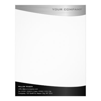 Simple Professional Black And White Letterhead  ZazzleCom