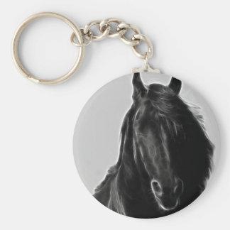 Black Stallion Basic Round Button Keychain