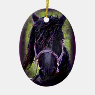 Black Stallion Ceramic Ornament