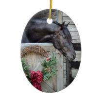 Black Stallion Christmas Ceramic Ornament