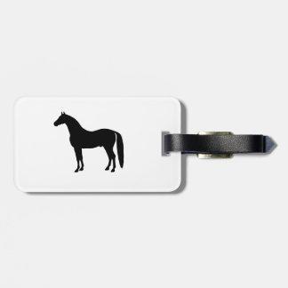 Black Stallion Elegant Horse Silhouette Drawing Bag Tag