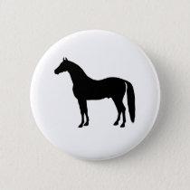 Black Stallion Elegant Horse Silhouette Drawing Pinback Button