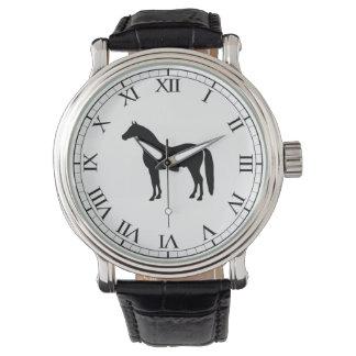 Black Stallion Elegant Horse Silhouette Drawing Watches