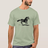 Black Stallion Horse Graphic T-Shirt