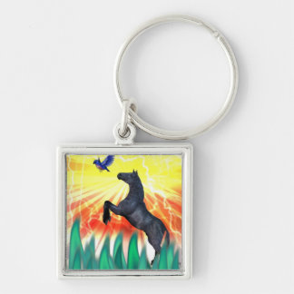 Black stallion horse rearing, flame grass keychain