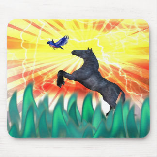Black stallion horse rearing flame grass mouse pad