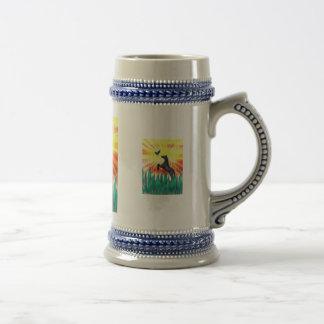 Black stallion horse rearing, flame grass coffee mug