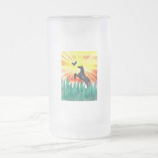Black stallion horse rearing, flame grass mugs
