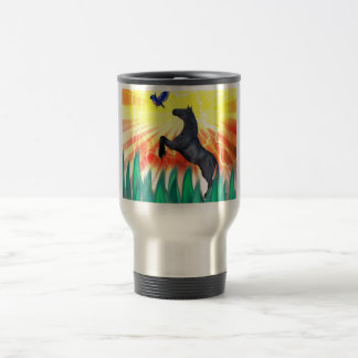 Black stallion horse rearing, flame grass 15 oz stainless steel travel mug