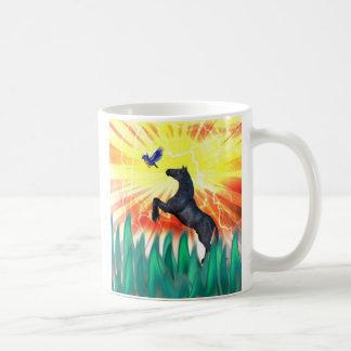 Black stallion horse rearing, flame grass mug
