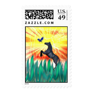 Black stallion horse rearing, flame grass postage stamps