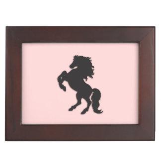 Black Stallion on Pink Keepsake Box