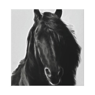 Black stallion profile in fractal stretched canvas prints