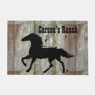 Black Stallion, Wild Horse Silhouette, Custom Doormat