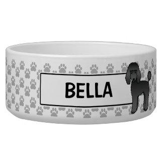 Black Standard Poodle And Dog's Name Bowl