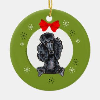 Black Standard Poodle Christmas Classic Ceramic Ornament