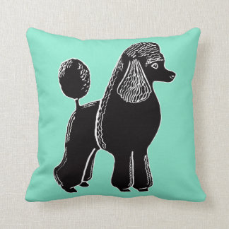 Black Standard Poodle Light Mint Pillow