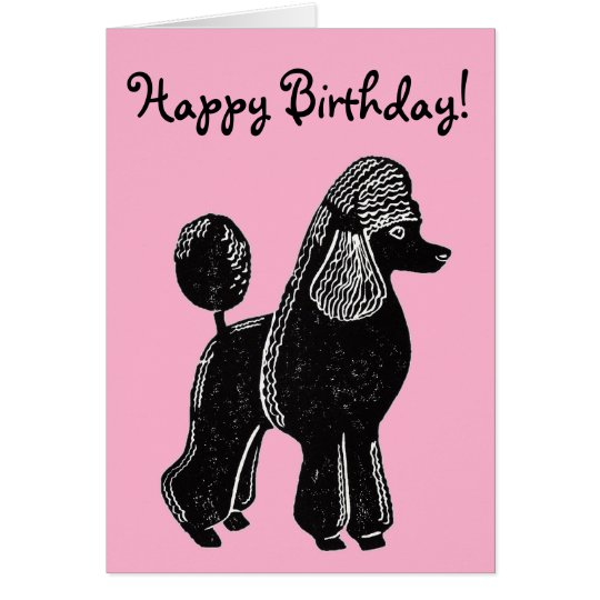 Black standard poodle pink happy birthday card zazzle black standard poodle pink happy birthday card bookmarktalkfo Gallery