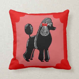 Black Standard Poodle Red and Pink Pillow
