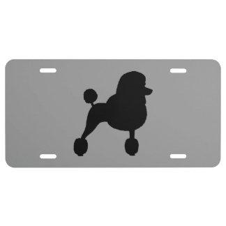 Black Standard Poodle Silhouette License Plate