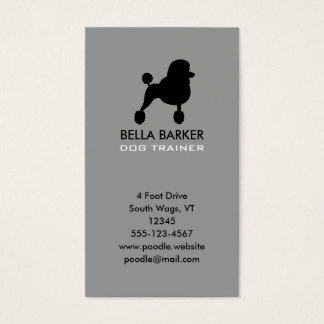 Black Standard Poodle Silhouette Vertical Business Card