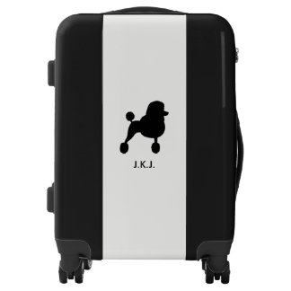 Black Standard Poodle Silhouette with Custom Text Luggage