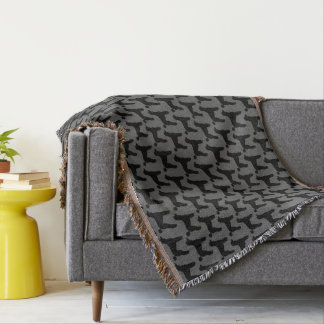 Black Standard Poodle Silhouettes Pattern Throw