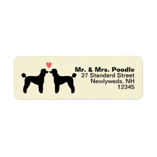 Black Standard Poodle Silhouettes with Heart Label