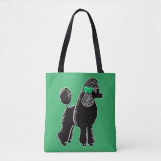 Black Standard Poodle with a Bow Green Tote Bag