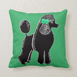 Black Standard Poodle with a Green Bow Pillow