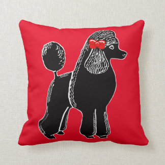 Black Standard Poodle with a Red Bow Pillow