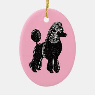 Black Standard Poodle with Pink Oval Ornament