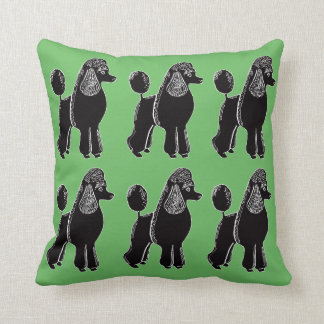 Black Standard Poodles Green Pillow