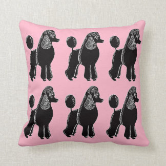 Black Standard Poodles Light Pink Pillow