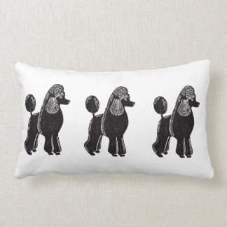 Black Standard Poodles Lumbar Pillow