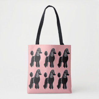 Black Standard Poodles Pink Tote Bag