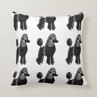 Black Standard Poodles Square Pillow