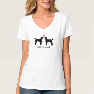 Black Standard Poodles with Heart and Text T Shirt