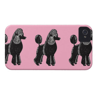 Black Standard Poodles with Pink iPhone 4 Case