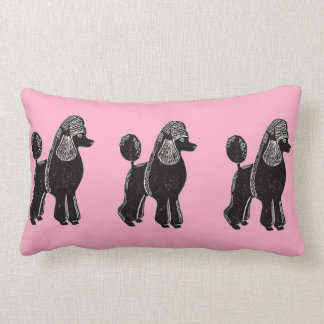 Black Standard Poodles with Pink Lumbar Pillow