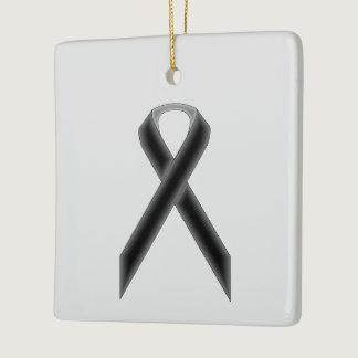 Black Standard Ribbon Ceramic Ornament