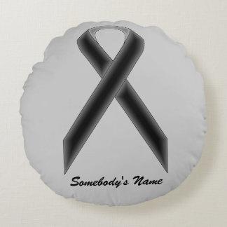 Black Standard Ribbon Round Pillow